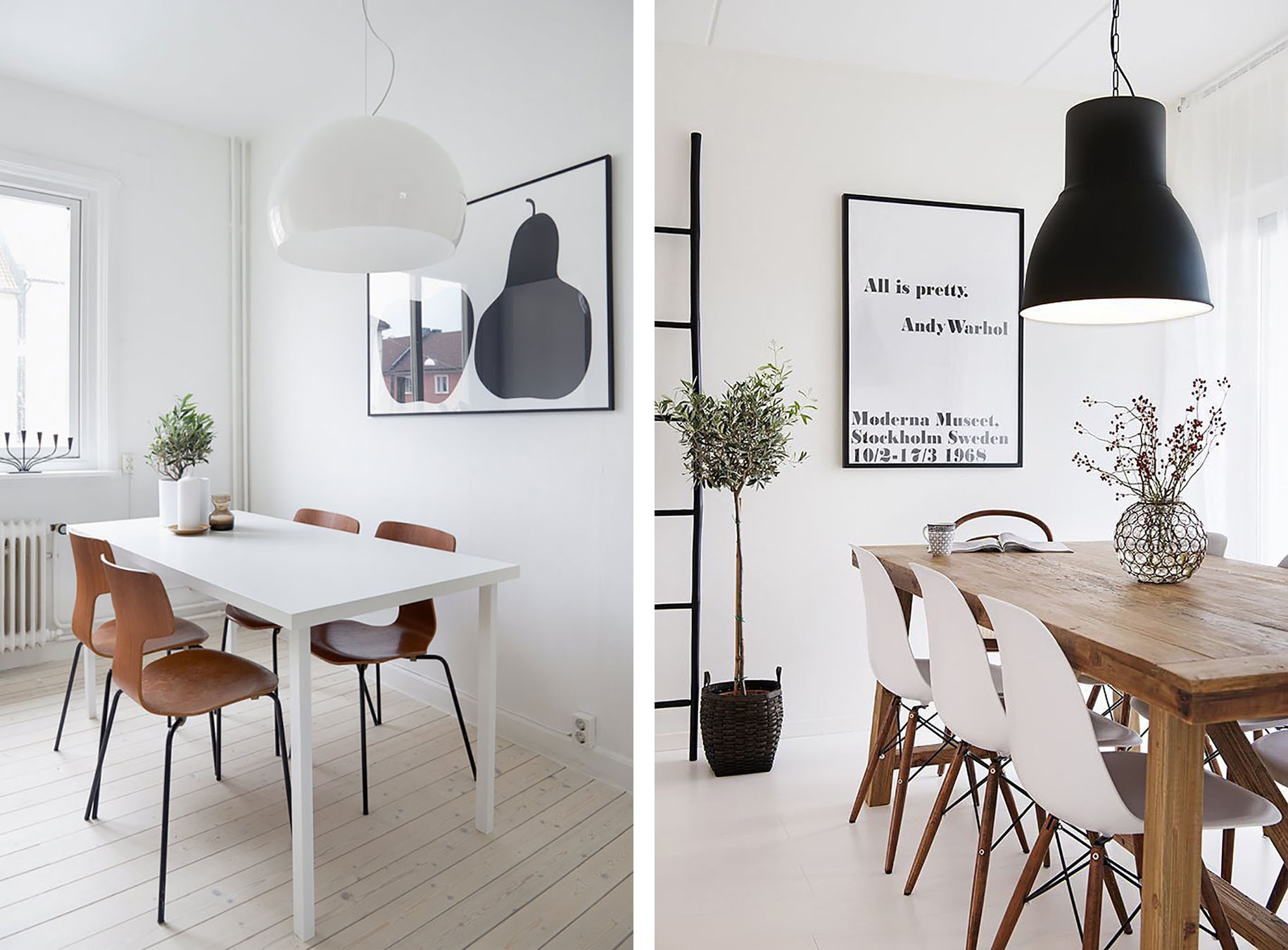 Scandinavian Dining Room With Light Wood Floors And White Walls