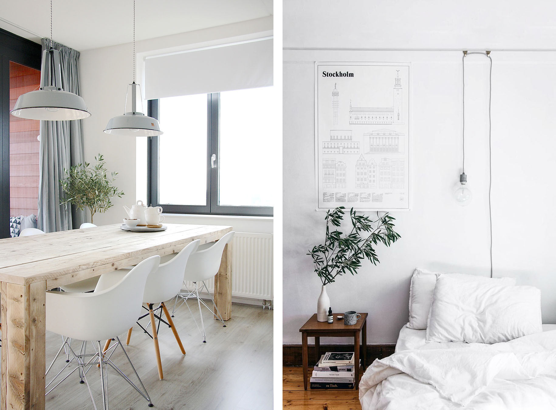 Scandinavian interior lighting with pendant lamps and hanging lightbulbs - Top 10 tips for adding Scandinavian style to your home | Happy Grey Lucky