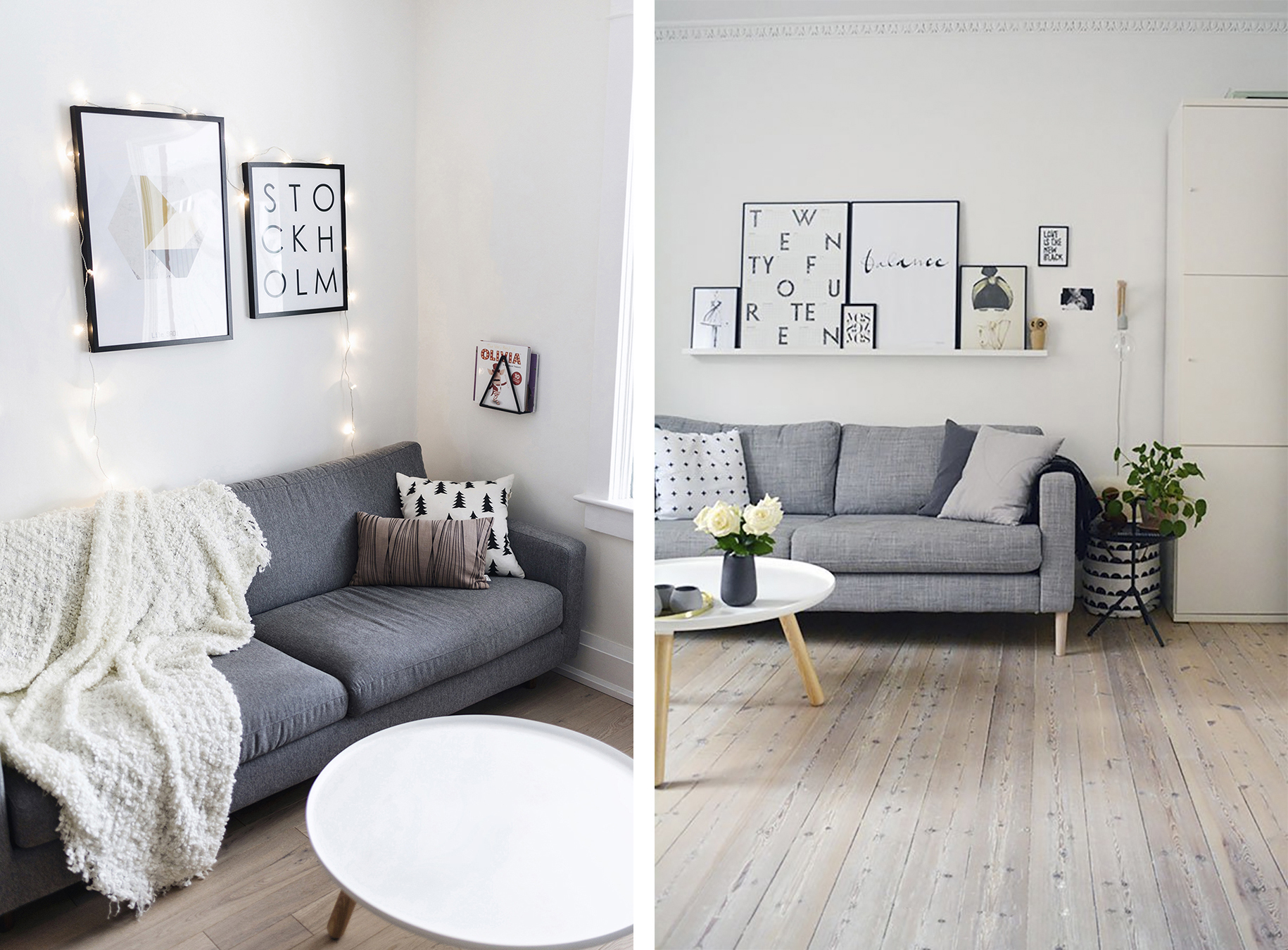 Top 10 tips for adding scandinavian style to your home for Gray living room black furniture