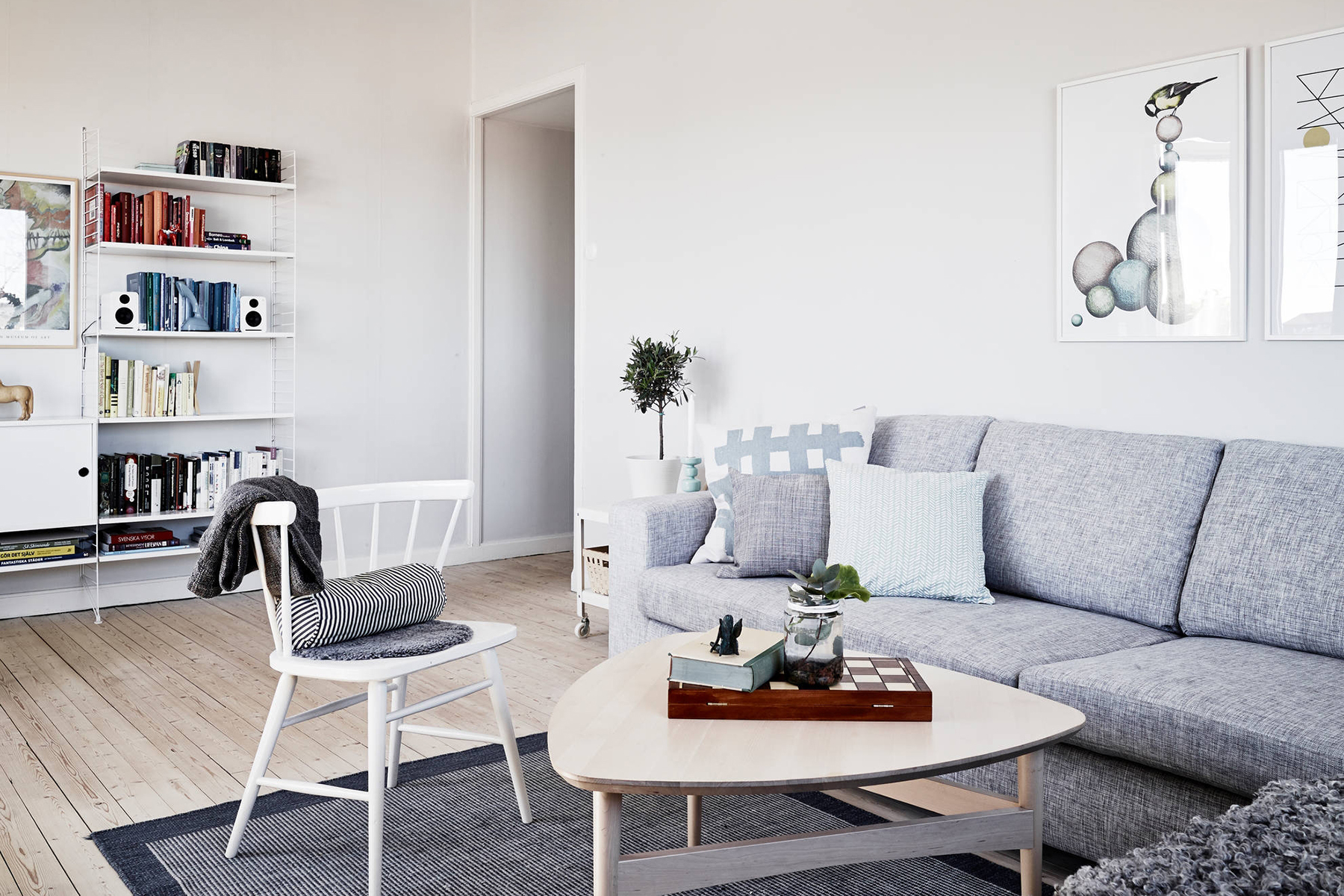 Scandinavian living room with neutral and pastel colors for Grey and neutral living room