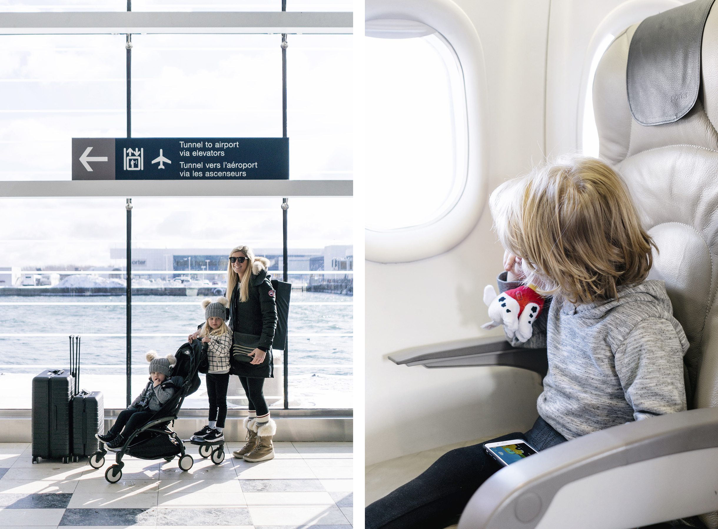 Flying with toddlers in winter with BabyZen Yoyo and ride-on board | Family Travel Tips