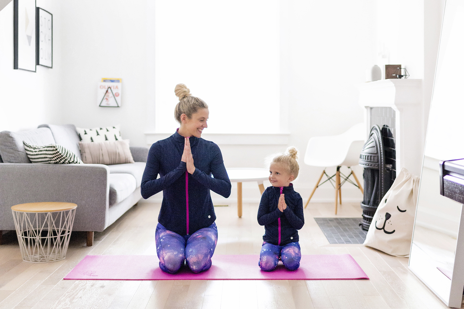 Practicing yoga with young kids | matching mommy and me leggings