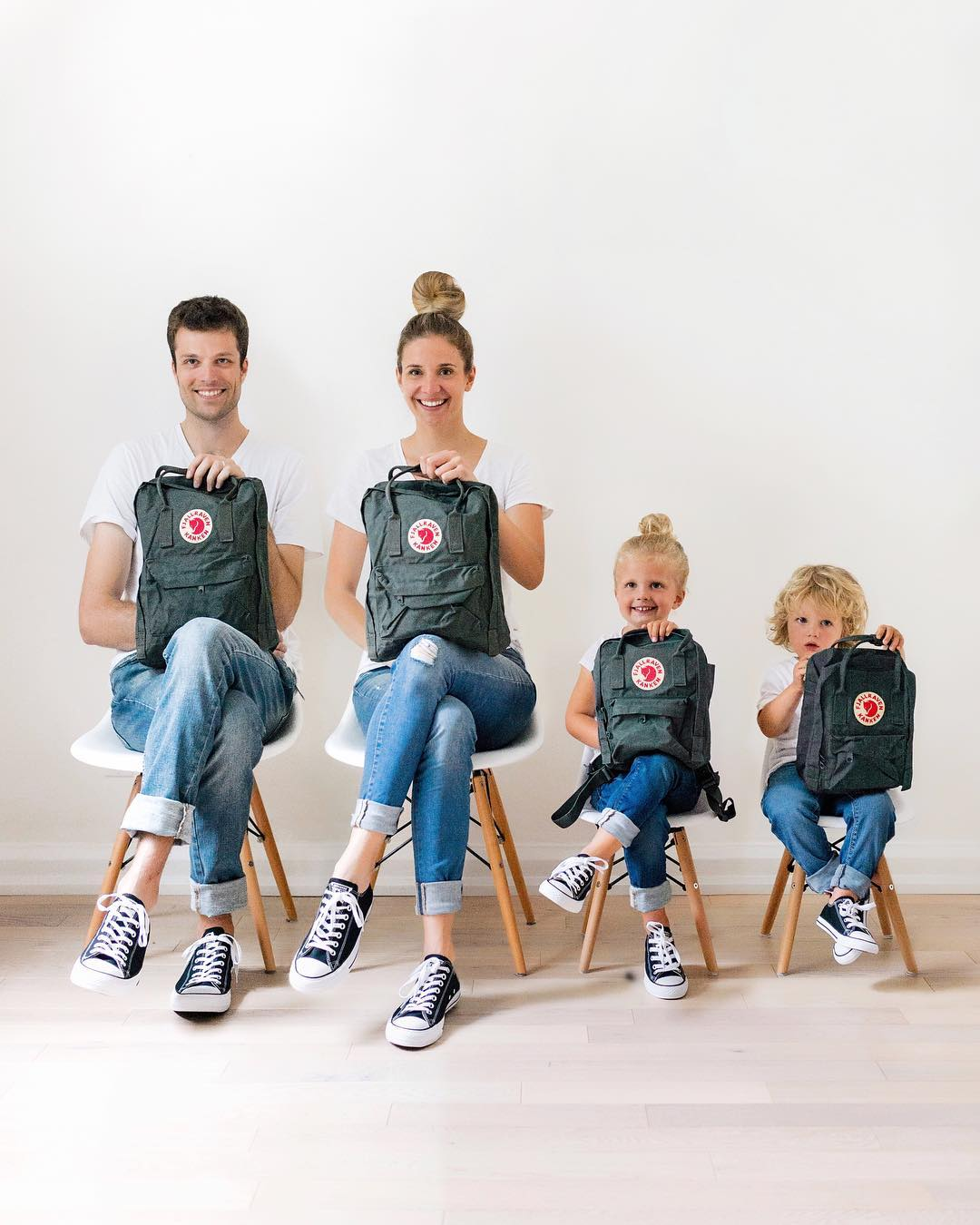 b91d22c1a Matching family Fjallraven backpacks and converse shoes | Happy Grey Lucky