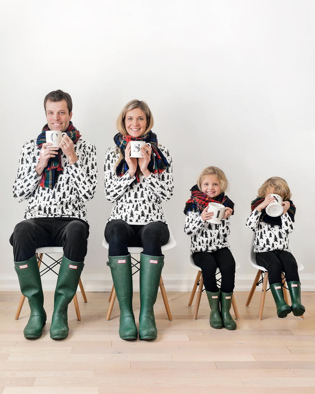 84df8b546d Matching family outfits with green Hunter boots   Happy Grey Lucky
