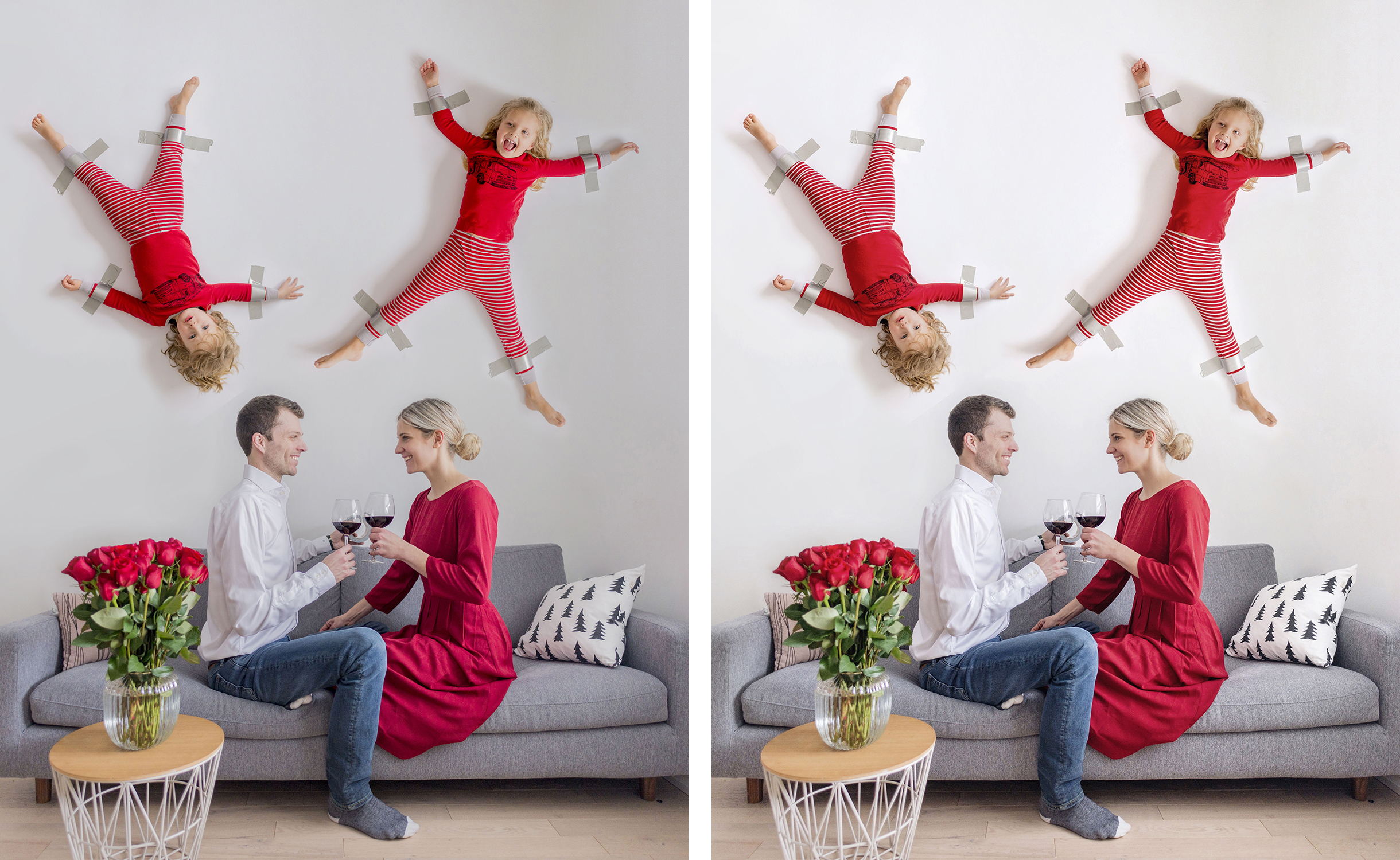 Kids duct-taped to the wall photo tutorial using Photoshop | Happy Grey Lucky