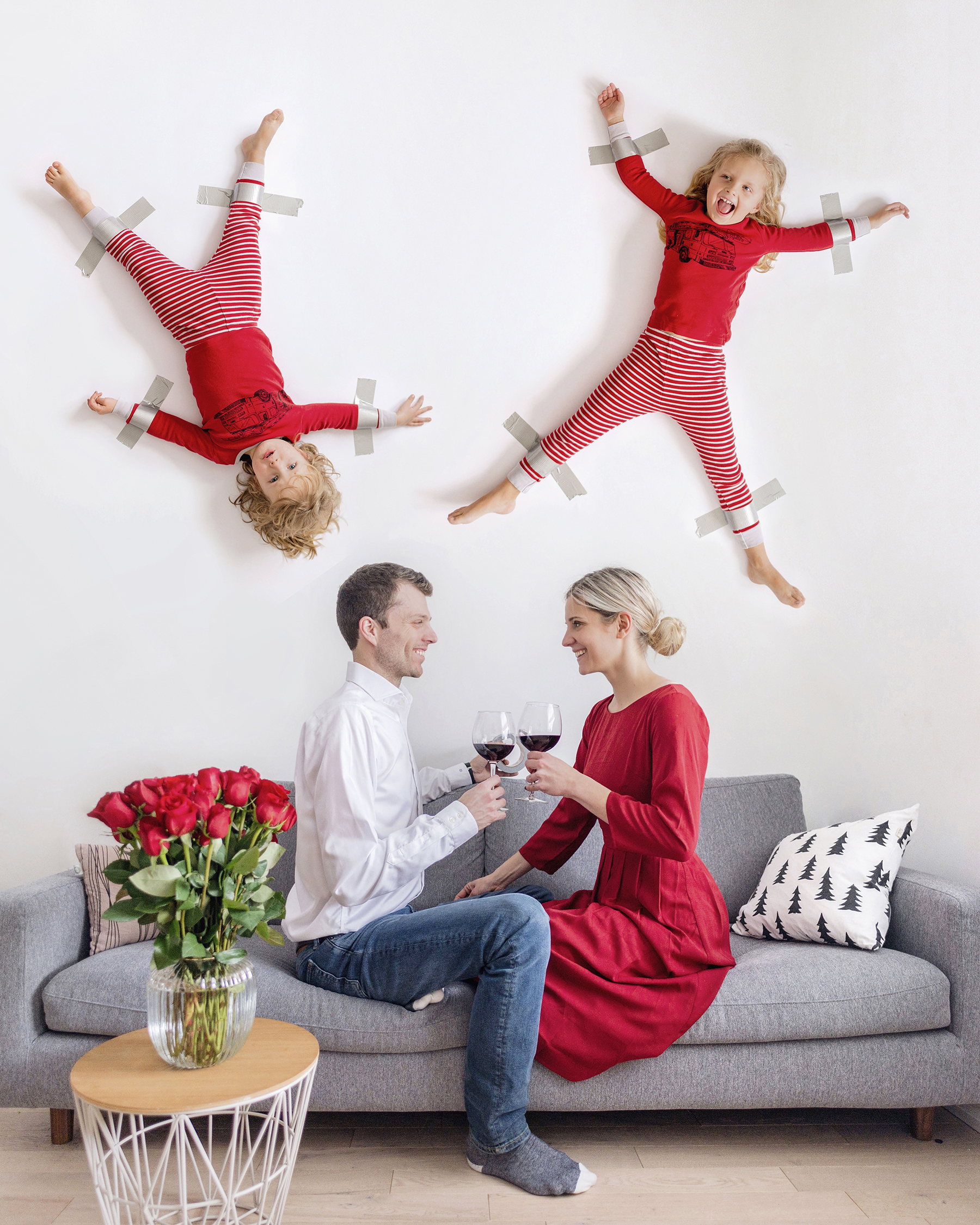 kids duct taped to the wall photo tutorial happy grey lucky