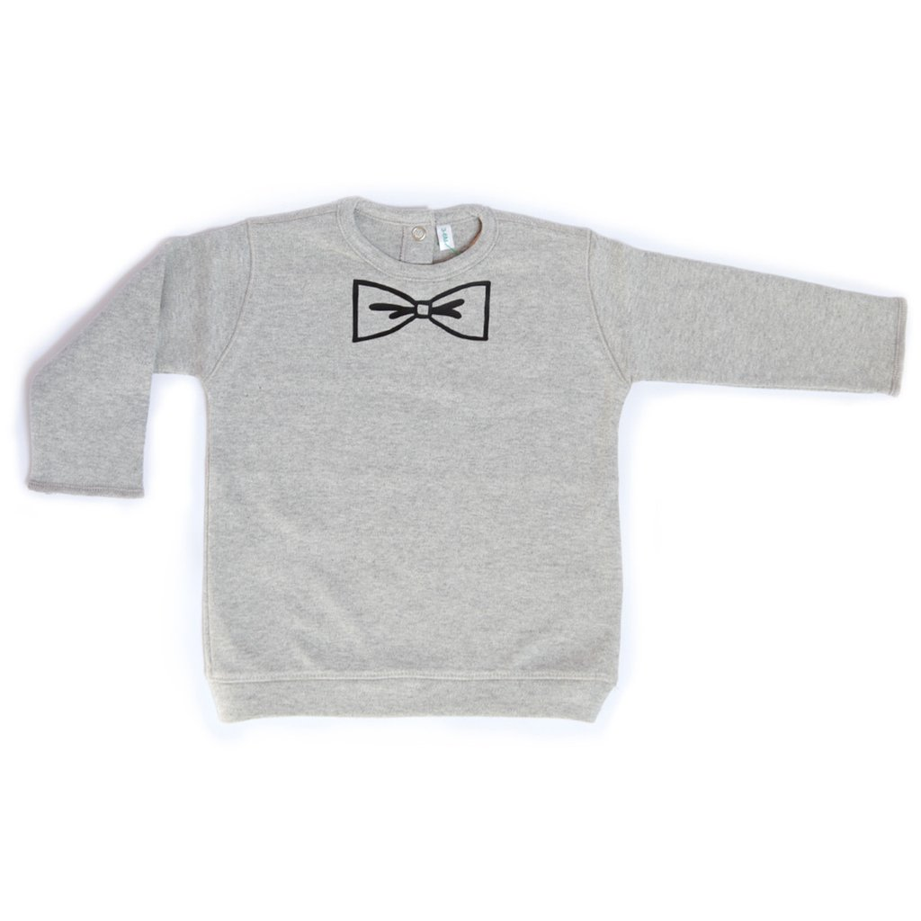 Little Minimalist grey bow sweatshirt