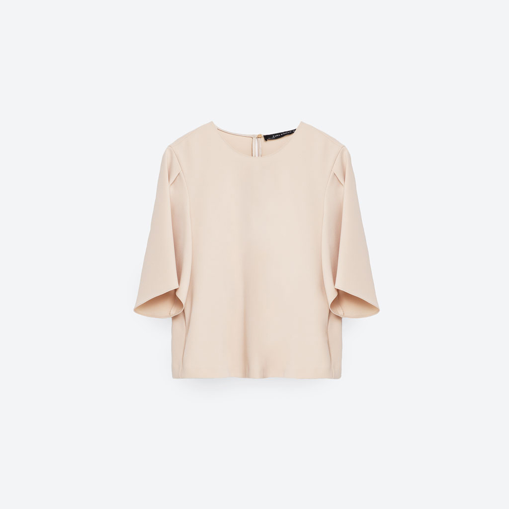 Zara cropped top with pleat detail