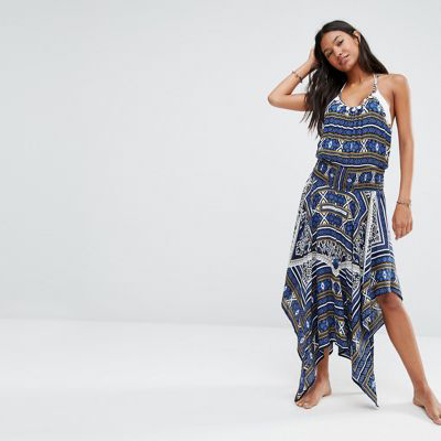 ASOS Anmol Printed Maxi Dress With Racerback Strap Detail