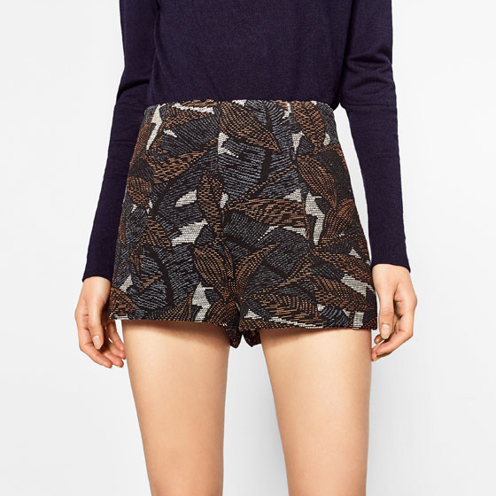 High Waist Jacquard Shorts