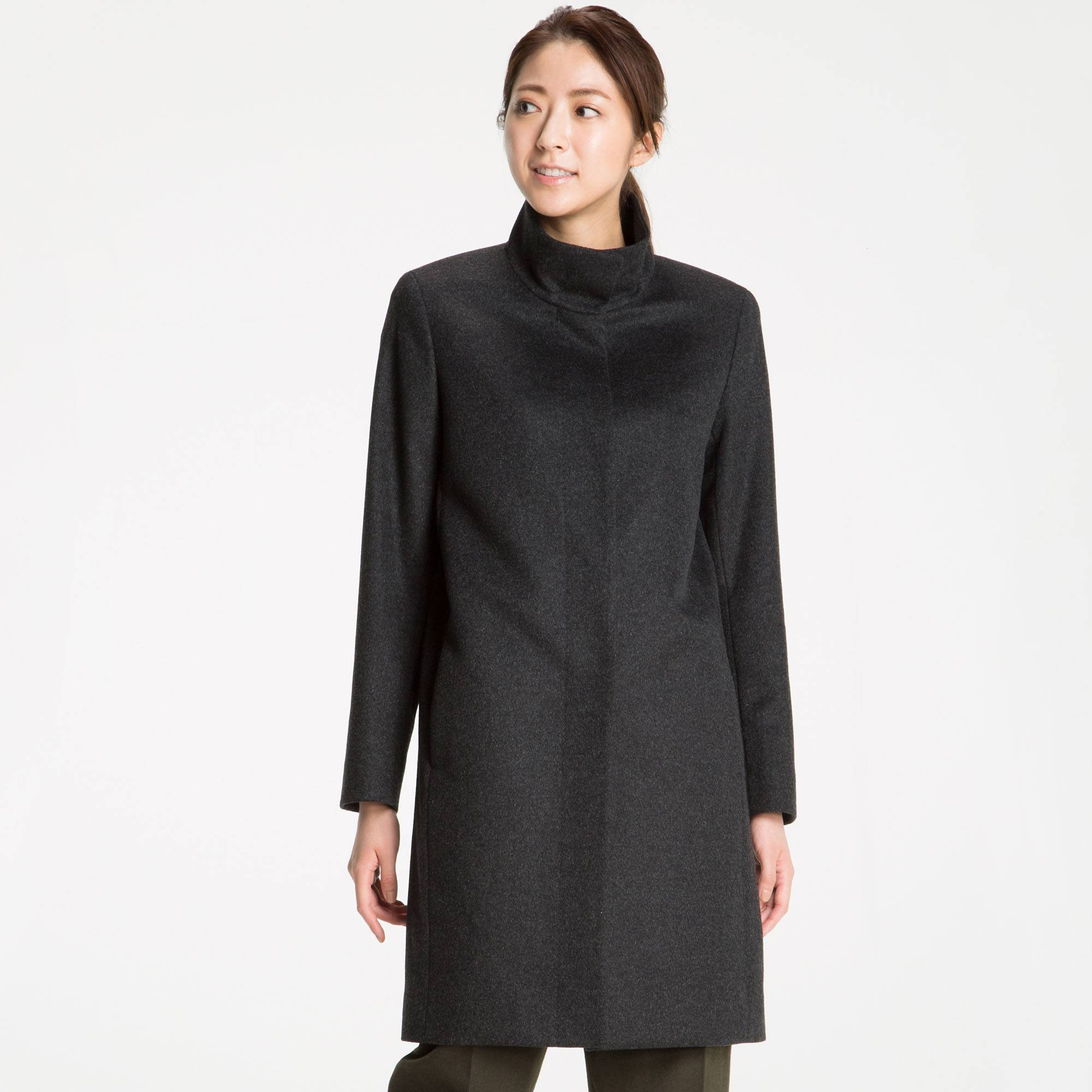 Uniqlo cashmere stand collar coat