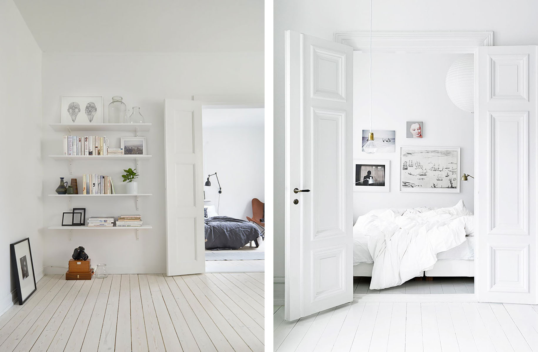 Scandinavian interior with light wood floors and white walls - Top 10 tips for adding Scandinavian style to your home | Happy Grey Lucky