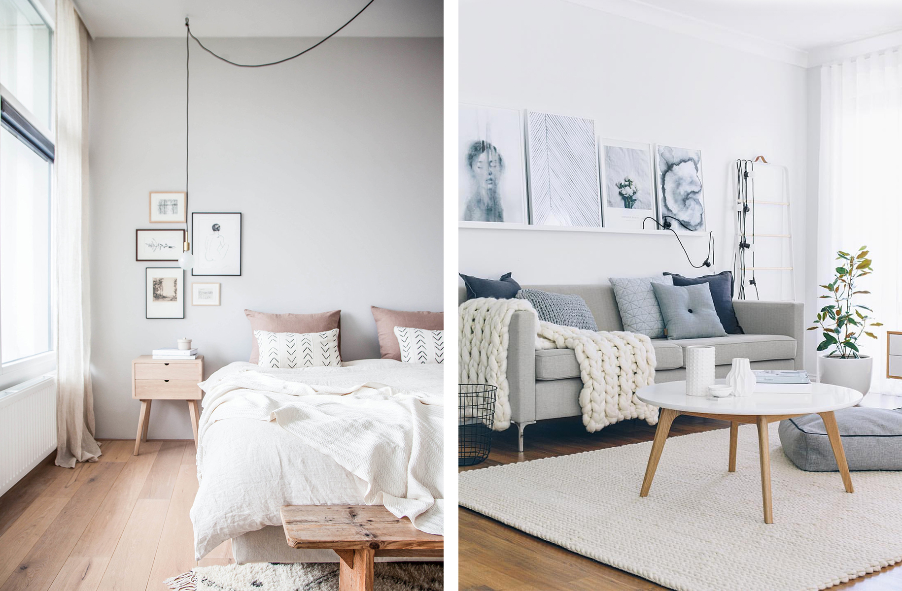 Scandinavian interiors with mix-and-match textiles - Top 10 tips for adding Scandinavian style to your home | Happy Grey Lucky