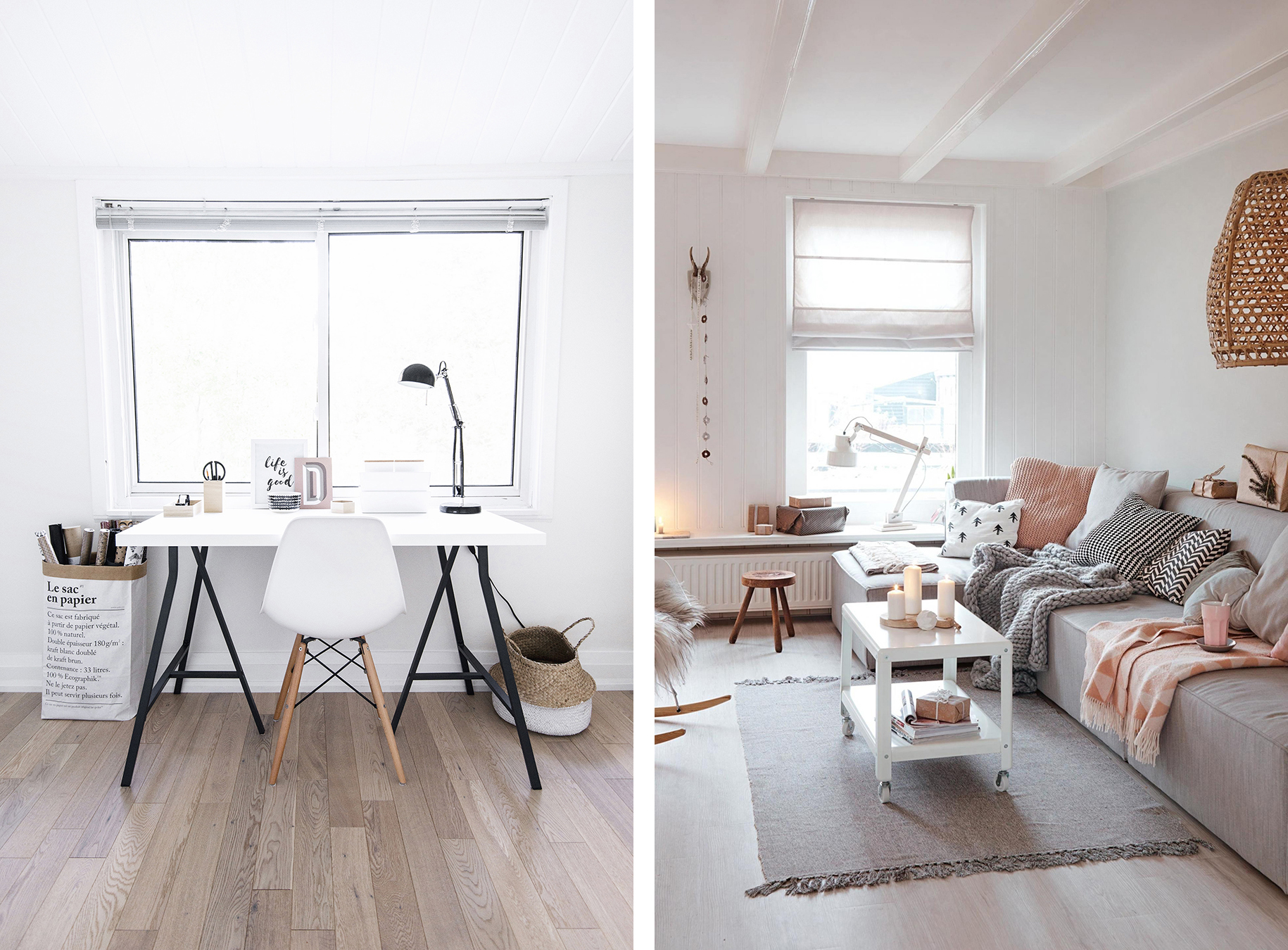 Scandinavian interior with neutral and pastel colors - Top 10 tips for adding Scandinavian style to your home | Happy Grey Lucky