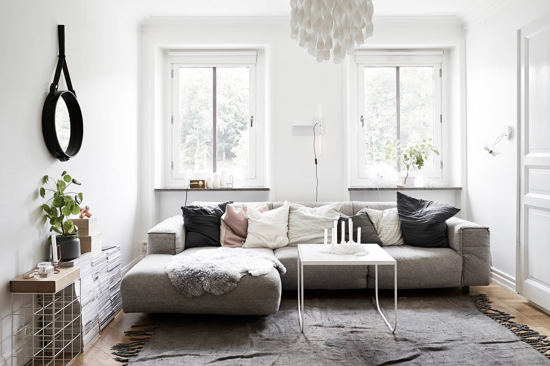 Scandinavian living room textiles - Top 10 tips for adding Scandinavian style to your home | Happy Grey Lucky