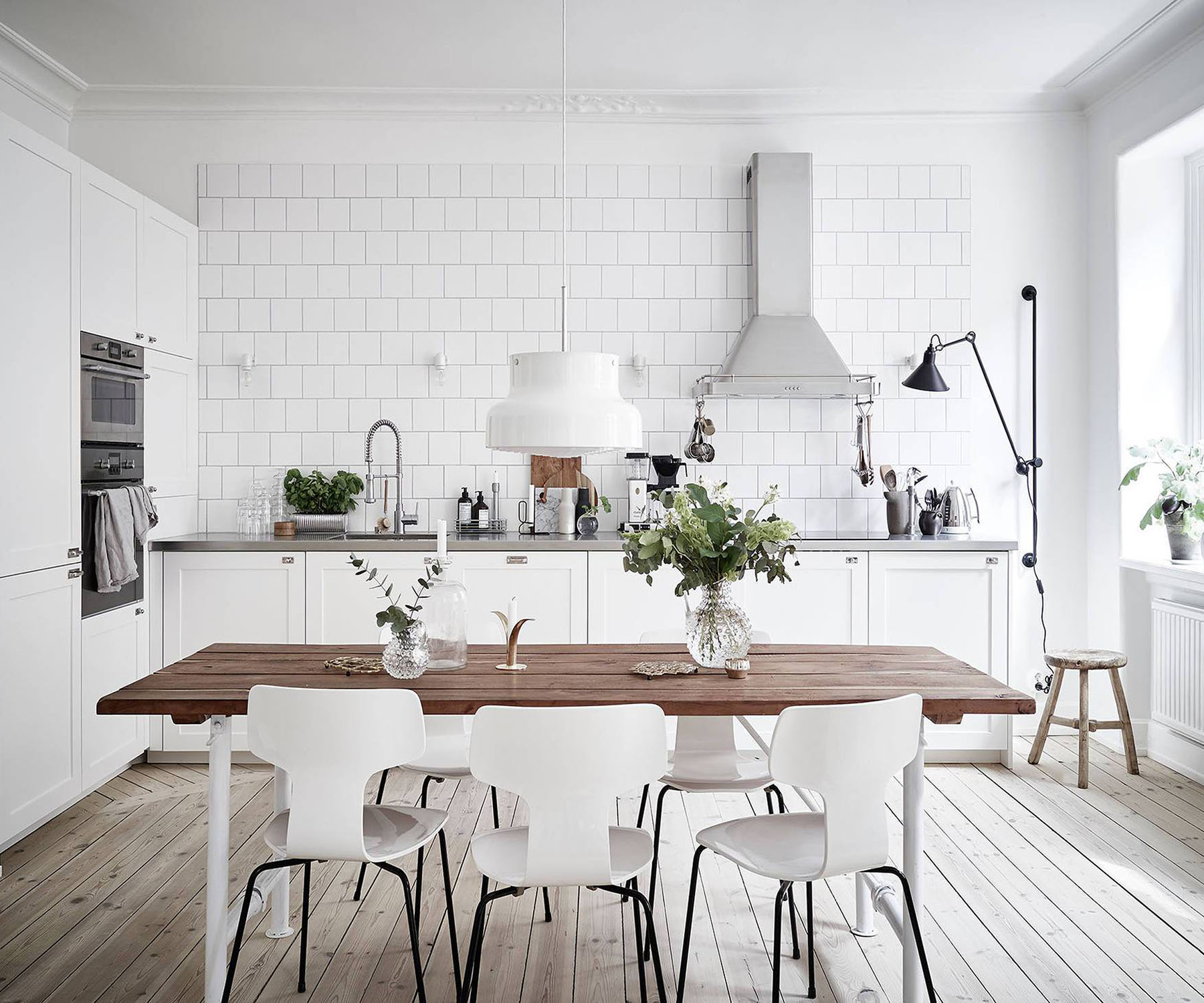 Scandinavian minimalist, white kitchen - Top 10 tips for adding Scandinavian style to your home | Happy Grey Lucky